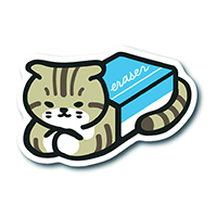 #紀寺商事 ポストカード Stationery and Cat Washi Postcard  Eraser PICCOLO-501_3000000198391